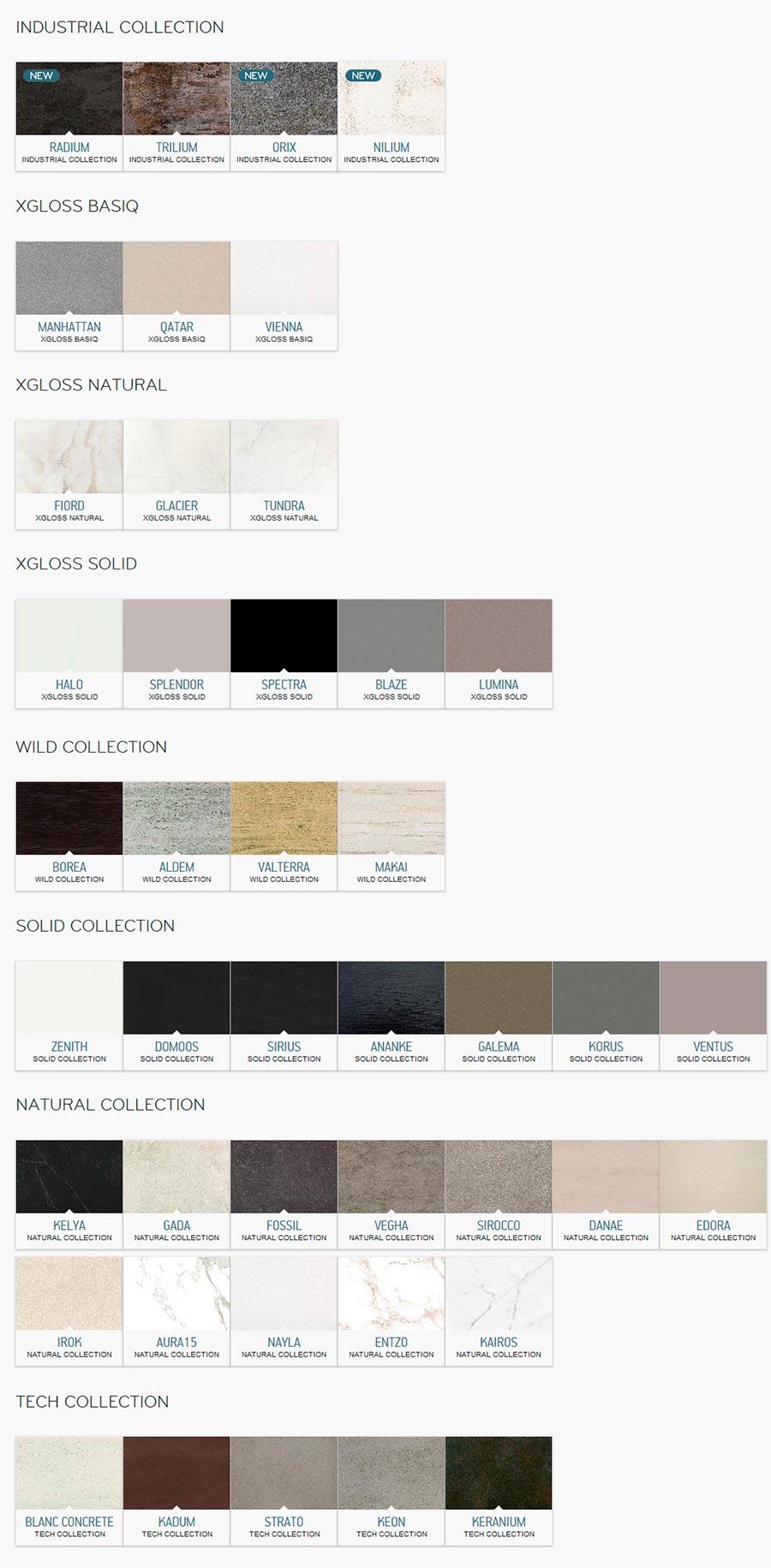 Colores y acabados Dekton